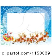 Cartoon Of A Christmas Frame Of Santas Sleigh And Copyspace Royalty Free Clipart