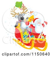 Cartoon Of A Reindeer Snowman And Santa Riding Downhill In A Sleigh 2 Royalty Free Clipart