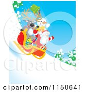 Cartoon Of A Reindeer Snowman And Santa Riding Downhill In A Sleigh 3 Royalty Free Clipart