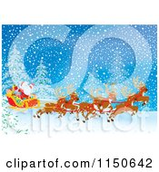 Cartoon Of Santa And Reindeer With The Sleigh In The Snow Royalty Free Clipart