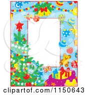Cartoon Of A Border Of Christmas Items And A Tree With Copyspace Royalty Free Vector Clipart