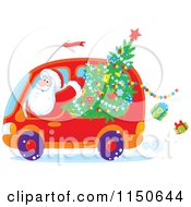 Cartoon Of Santa Waving And Driving A Van With A Christmas Tree Royalty Free Vector Clipart