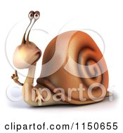 Clipart Of A 3d Snail Mascot Holding Up A Finger Royalty Free CGI Illustration