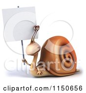 Clipart Of A 3d Snail Mascot Holding A Sign 1 Royalty Free CGI Illustration by Julos