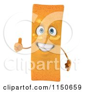 Clipart Of A 3d Happy French Fry Mascot Holding A Thumb Up Royalty Free CGI Illustration