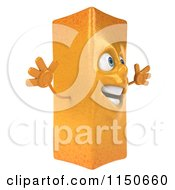 Clipart Of A 3d Happy French Fry Mascot Jumping Royalty Free CGI Illustration