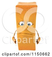Clipart Of A 3d Pouting French Fry Mascot Royalty Free CGI Illustration