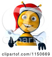 Clipart Of A 3d Christmas Bee Holding A Thumb Up Over A Sign Royalty Free CGI Illustration