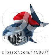 Clipart Of A 3d Christmas Shark Wearing A Santa Hat 2 Royalty Free CGI Illustration