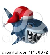 Clipart Of A 3d Christmas Shark Wearing A Santa Hat 3 Royalty Free CGI Illustration by Julos