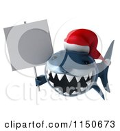 Clipart Of A 3d Christmas Shark Wearing A Santa Hat And Holding A Sign Royalty Free CGI Illustration