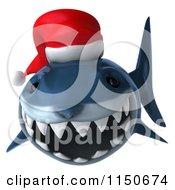 Clipart Of A 3d Christmas Shark Wearing A Santa Hat Royalty Free CGI Illustration by Julos