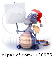 Clipart Of A 3d Purple Christmas Dragon Holding A Sign Royalty Free CGI Illustration