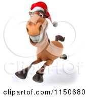 Clipart Of A 3d Happy Christmas Horse Running And Wearing A Santa Hat Royalty Free CGI Illustration