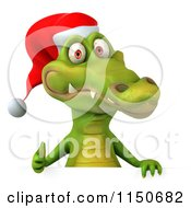 Clipart Of A 3d Christmas Crocodile Holding A Thumb Up Over A Sign Royalty Free CGI Illustration