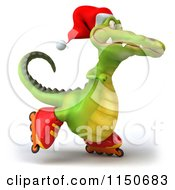Clipart Of A 3d Christmas Crocodile Roller Blading Royalty Free CGI Illustration