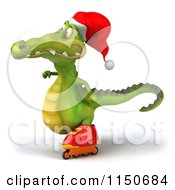 Clipart Of A 3d Christmas Crocodile Roller Blading 2 Royalty Free CGI Illustration