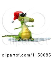 Clipart Of A 3d Christmas Crocodile Surfing With Sunglasses On Royalty Free CGI Illustration