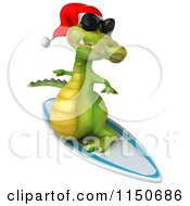Clipart Of A 3d Christmas Crocodile Surfing With Sunglasses On 2 Royalty Free CGI Illustration