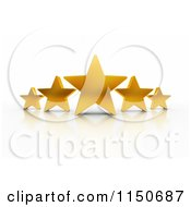 Clipart Of 3d Excellent Rating Five Gold Stars Royalty Free CGI Illustration