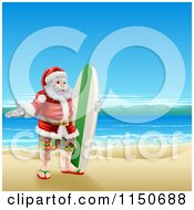 Cartoon Of A Surfer Santa On A Beach Royalty Free Vector Clipart by AtStockIllustration