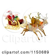 Cartoon Of Flying Magic Reindeer And Santa In A Christmas Sleigh Royalty Free Vector Clipart