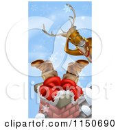 Cartoon Of A Christmas Reindeer Watching Santa Stuck In A Chimney Royalty Free Vector Clipart