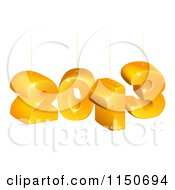 Clipart Of Suspended 3d 2013 New Year Numbers Royalty Free Vector Clipart