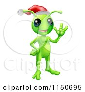 Cartoon Of A Waving Christmas Alien Wearing A Santa Hat Royalty Free Vector Clipart