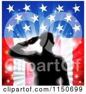Clipart Of A Silhouetted Saluting Soldier Over Fireworks And An American Flag Royalty Free Vector Clipart
