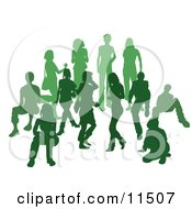 Green Group Of Silhouetted People In A Crowd Clipart Illustration