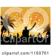 Clipart Of A Silhouetted Dj Dancers And Palm Trees Against A Disco Ball Sunset Royalty Free Vector Clipart by elaineitalia