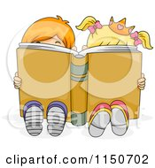 Cartoon Of A Brother And Sister With A Crown Reading A Story Book Royalty Free Vector Clipart
