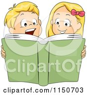 Cartoon Of A Blond Brother And Sister Reading A Story Book Royalty Free Vector Clipart by BNP Design Studio