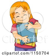 Cartoon Of A Happy Red Haired Girl Hugging Books Royalty Free Vector Clipart