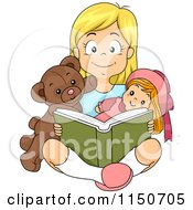 Cartoon Of A Happy Blond Girl Reading A Book With Her Teddy Bear And Doll Royalty Free Vector Clipart