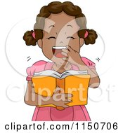 Cartoon Of A Black Girl Laughing And Reading A Book Royalty Free Vector Clipart