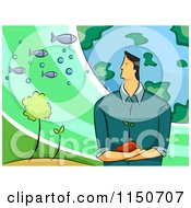 Cartoon Of A Environmental Scientist Man With The Earth Plants And Fish Royalty Free Vector Clipart