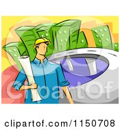 Cartoon Of A Civil Engineer Man Holding Blueprints By A Road Royalty Free Vector Clipart by BNP Design Studio