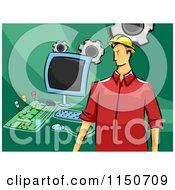Cartoon Of A Male Computer Engineer With Parts Royalty Free Vector Clipart