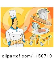 Cartoon Of A Male Chef With Food Royalty Free Vector Clipart by BNP Design Studio