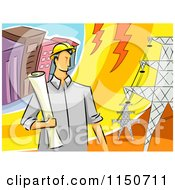 Cartoon Of A Male Electrical Engineer By Transmission Towers Royalty Free Vector Clipart