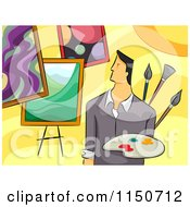 Cartoon Of A Male Artist With Paintings Royalty Free Vector Clipart by BNP Design Studio