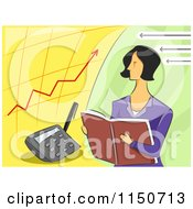 Cartoon Of A Female Accountant And Charts Royalty Free Vector Clipart