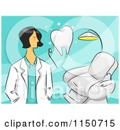 Cartoon Of A Female Dentist With A Tooth And Chair Royalty Free Vector Clipart