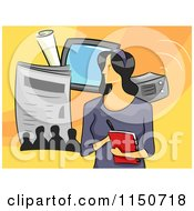 Cartoon Of A Female Journalist Royalty Free Vector Clipart by BNP Design Studio