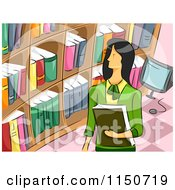 Cartoon Of A Female Librarian Royalty Free Vector Clipart by BNP Design Studio