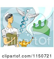 Cartoon Of A Female Nurse With A Caduceus Oil Lamp And People Royalty Free Vector Clipart