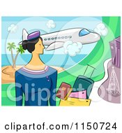 Cartoon Of A Stewardess With Documents And Luggage Under A Plane Royalty Free Vector Clipart