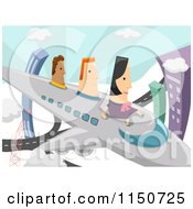 Cartoon Of A Woman And Men Flying On An Airplane Royalty Free Vector Clipart by BNP Design Studio